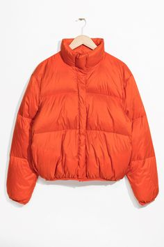 & Other Stories image 2 of Puffy Down Jacket in Orange Tumblr Outfits, Boy Outfits, Moncler, Chica Punk, Kalter Winter, Kenzo, Orange Jacket, Puffy Jacket, Windbreaker Jacket