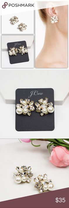 "J.Crew Pearl and Crystal Earrings Brand new Dust pouch included MSRP: $68  Nothing could possibly make pearls any more perfect...except for crystals. Our designers combined two of our favorite things to create a pair of earrings that are as elegant as they are easy. * Brass, glass, plastic pearls. * Light gold ox plating. * Length: 1"". * Item E3636. J. Crew Jewelry Earrings"