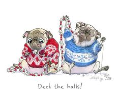 Pugs in sweaters ftw Pug Illustration, Pug Cartoon, Pug Christmas, Pugs And Kisses, Pug Art, Cute Pugs, Funny Pugs, Pug Love, Little Dogs
