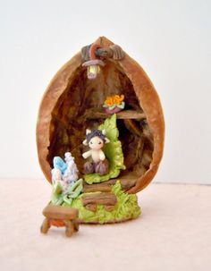 Micro faun & tiny walnut house with furniture - OOAK miniature set.