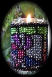 Stained Glass Christmas Candle : Beading Patterns and kits by Dragon!, The art of beading.