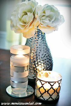 Striped Frosted Glass Candle Holder {DIY Tutorial} - Monica Wants It Diy Candle Holders, Diy Candles, Beeswax Candles, Foto Transfer, Frosted Glass, Glass Jars, Diy Tutorial, Diy Home Decor, Room Decor