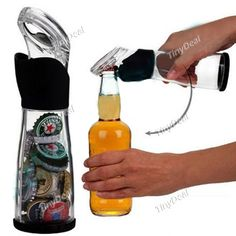 2-in-1 Creative Bottle Shaped Beer Bottle Opener   Cap Collector Container Bottle Open Tool Kit HLI-88997