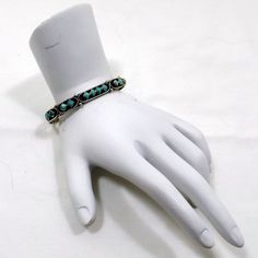 Slim Silver Cuff with Turquoise Accents by KatsCache on Etsy