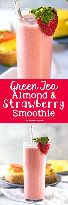 Green Tea Almond Strawberry Smoothie - a creamy almond and strawberry smoothie with Sencha tea (Green tea), that will keep you energized and full through to lunch! Dairy Free, Vegan and Paleo. via Dini @ The Flavor Bender Fruit Smoothie Recipes, Easy Smoothies, Strawberry Smoothie, Smoothie Drinks, Smoothie Bowl, Fruit Recipes, Drink Recipes, Smoothie King, Smoothie Packs