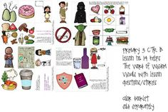 Primary 3 - CTR B - lesson 14, The Word of Wisdom, follows the lesson in order of the presentation, questions with gospel art pictures plus questions with other visuals, print from home 8.5x11, laminate if desired, print labels out and put on backs of pictures, color booklet sold separately, great for FHE too