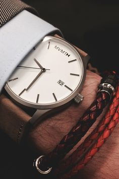 """vividessentials: """"White/Tan Leather Watch 