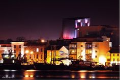 The Quay and the Opera House at night by Lee Robinson Wexford Town, Wexford Ireland, Irish Eyes, North West, Walks, Opera House, Gem, River, Night