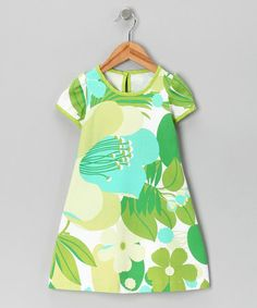 Take a look at this Green & Turquoise Cap-Sleeve Dress - Toddler & Girls by Moo Boo's on #zulily today!