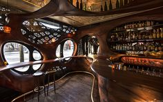 Built by Partisans in Toronto, Canada Bar Raval is a response to Spanish Art Nouveau design. Mike Webster, Toronto, Circular Buildings, Art Nouveau Furniture, Art Furniture, Luxury Bar, Art Deco Bar, Spanish Art, Barcelona