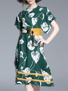 Shop Batwing Sleeve Print A-Line Dress online. SheIn offers Batwing Sleeve Print A-Line Dress & more to fit your fashionable needs.