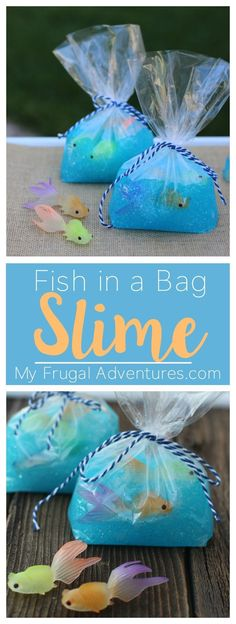 Such a fun children's craft! Fish in a Bag slime. Perfect for summer afternoons or rainy days.