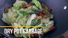 Pork and Cabbage Stir Fry - Dry Pot Cabbage - YouTube Raw Cabbage, Pork And Cabbage, Cabbage Stir Fry, Fried Cabbage, Chinese Cabbage, Roast Chicken Recipes, Pork Recipes, Asian Recipes, Cooking Recipes