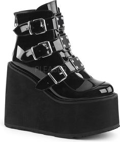 Black Patent Swing 105 Platform Ankle Boot at Gothic Plus - Gothic Clothing, Jewelry, Goth Shoes & Boots & Home Decor Buckle Ankle Boots, Platform Ankle Boots, Leather Ankle Boots, Ankle Booties, Shoe Boots, Platform Wedge, Platform Sneakers, Dr Shoes, Cute Shoes