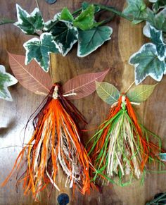Two Handmade Mabon Harvest Hedgerow Faeries. by PositivelyPagan Corn Dolly, Make Your Own, Make It Yourself, Ribbon Yarn, Mabon, Sabbats, Beltane, Handfasting, Fall Harvest