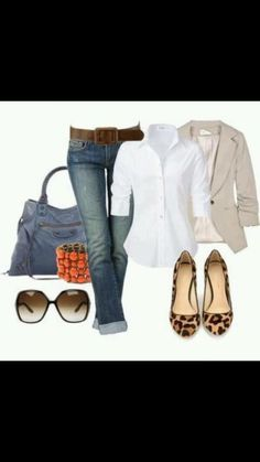 light elbow sleeve blazer + basic layer + long rolled jeans + flats