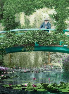 foto di Claude Monet sul ponte giapponese nel suo giardino a Giverny