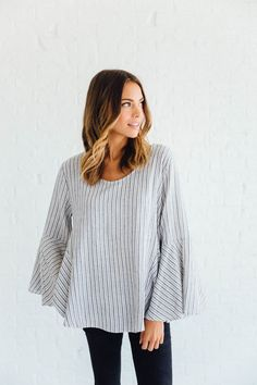 DETAILS: - Longsleeve Gusset Stripe Top - Soft Cotton/Linen Blend - Model is…