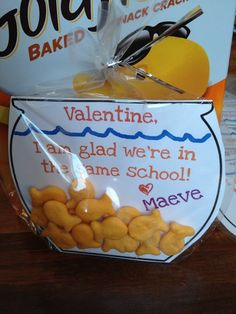 "Valentine Grams School | Cute class give out of goldfish crackers in a ""fish bowl""."