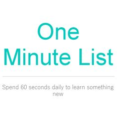 One Minute List