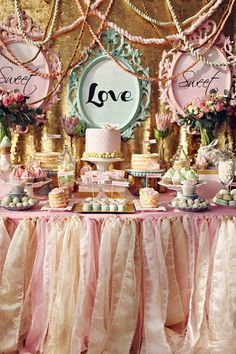 Romantic wedding dessert table with pink tulle cloth, vintage frames, and lots and lots of yummy treats- with fall colors instead. Maybe for wedding shower. Wedding Desserts, Wedding Cakes, Wedding Decorations, Sweet Table Decorations, Wedding Themes, Dessert Buffet, Candy Buffet, Dessert Tables, Dessert Ideas