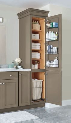The tall cabinet is nice, but I would bring it to the ceiling. Cool small master bathroom remodel ideas (19)