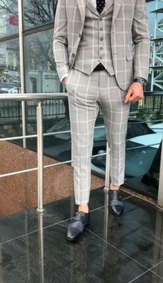 Name: Elk Gray Slim Fit Plaid Suit Collection: Spring – Summer 2019 Product: Slim-Fit Plaid Suit Vest Color Code: Gray Available Size: Suit Material: cotton , Polyester Machi Mens Casual Suits, Stylish Mens Outfits, Mens Fashion Suits, Formal Suits For Men, Buy Mens Suits, Casual Outfits, Plaid Suit, Suit Vest, Wool Suit