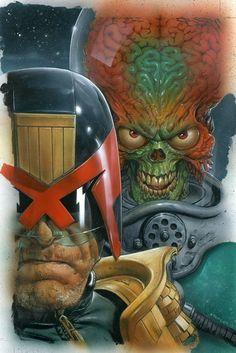 Mars Attacks Judge Dredd #3 cover by Greg Staples