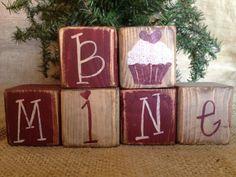 Primitive Country Cupcake Be Mine Valentine's Day Shelf Sitter Wood Cube Blocks #PrimitiveCountry