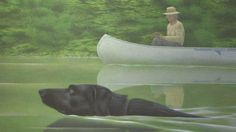 Alex Colville Swimming Dog and Canoe Canadian Painters, Canadian Artists, Alex Colville, Vancouver, Magic Realism, Paintings I Love, Disney Films, Boy Art, Canada