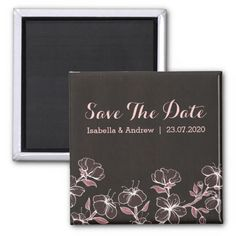 Pink Blossom Wedding Save The Date Refrigerator Magnets Floral Save The Dates, Wedding Save The Dates, Save The Date Magnets, Pink Blossom, Refrigerator Magnets, Photo Magnets, Wedding Favors, Create Your Own, Dating