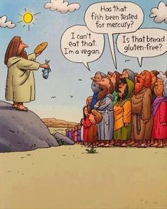 A little bit of vegan humor, something I don't think Jesus had to deal with that much of in his day and age. Humor Religioso, Free Cartoons, Funny Cartoons, Funny Jokes, Jw Funny, Humor Cristiano, Church Humor, Christian Humor, Humor Grafico
