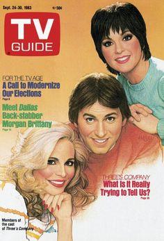 TV Guide September 24, 1983 - Priscilla Barnes, John Ritter and Joyce DeWitt of Three's Company. Illustration by Richard Amsel.