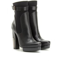 Lanvin Neoprene And Leather Trimmed Ankle Boots ($1,985) ❤ liked on Polyvore