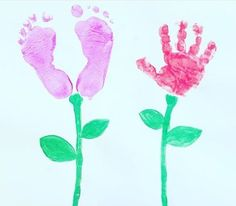 Handprint and footprint artwork ideas for children Footprint, Flower Prints, Artwork Ideas, Cute, Flowers, Instagram Posts, Painting, Homeschool, Jewelry