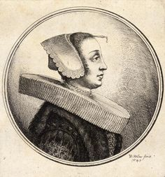 "Wenceslas Hollar, 1645 ""Woman with pleated curls"""