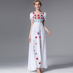 Branco Abaya Muçulmano Das Mulheres Elegante Vestido de Verão 2016 Da Marca de Manga Curta Flores Bordado Topshop Gola Quadrada de Algodão Vestido Longo em Vestidos de Moda e Acessórios no AliExpress.com   Alibaba Group