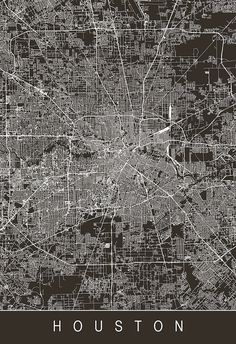 HOUSTON CITY MAP Art Print Line Art City by EncoreDesignStudios