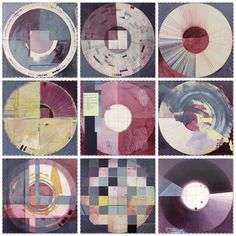 """Ellen Heck's incredible abstract painting and printmaking. """"San Francisco Color Wheels- Auburgine"""", 2014, Mixed media on panel, 62x62 inches at Wally Workman Gallery in Austin, Texas."""
