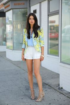 Blazer and short shorts.