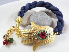 Hamsa  Hand of Fatima Navy Silk Bracelet  Gold by Lylaaccessories, $32.00
