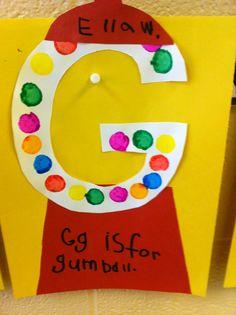 letter G is for gumballs Preschool Letter Crafts, Alphabet Letter Crafts, Abc Crafts, Daycare Crafts, Classroom Crafts, Preschool Activities, Letter Art, Ps Letter, Alphabet Books