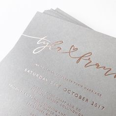 "Paige Tuzée (@paigetuzee_designs) on Instagram: ""Tyla + Frank in my custom hand lettering, hot foil stamped in rose gold onto beautiful grey stock ✨"""