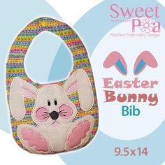 Easter bunny bib ITH in the hoop 9.5x14 machine embroidery design - Sweet Pea
