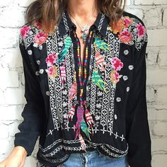 Modern gypsy look hippie feather Johnny Was embroidered top blouse. For the best BOHEMIAN fashion style FOLLOW https://www.pinterest.com/happygolicky/the-best-boho-chic-fashion-bohemian-jewelry-gypsy-/ now.