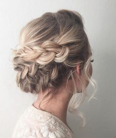 Beautiful braid updo wedding hairstyle for romantic brides - Bridal hairstyle. Get inspired by this low updo bridal hair gorgeous styles,hairstyle updo #weddinghairstyles