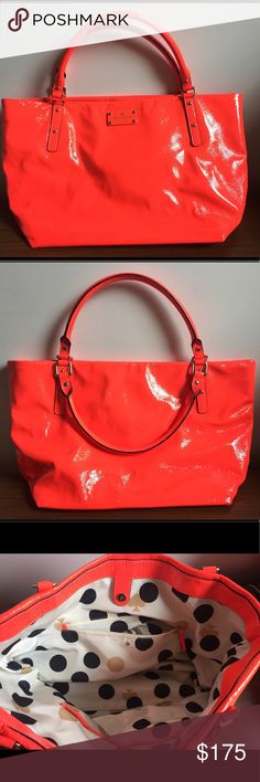 Kate Spade Neon red/orange Handbag Beautiful neon handbag in crinkle patent leather. Main compartment closes with a magnet. Interior is lined in signature cream fabric with polka dot and spade print. Interior compartment has one zip pocket and 2 slip pockets. Bottom of bag has 4 protective metal feet. Bag is trimmed with light gold plated hardware. Small signs of wear. kate spade Bags Shoulder Bags