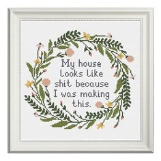 "204 Likes, 8 Comments - Cross stitch / Embroidery (@oh_wow_stitch) on Instagram: ""The best excuse ever This cross stitch pattern is a digital printable PDF file, you will get it…"""