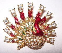 Boucher Brooch Pin Peacock Design Ice by BrightgemsTreasures, $44.50
