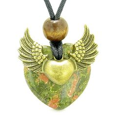 Angel Wings Double Lucky Heart Donut Amulet Magic Powers Unakite Pendant Necklace *** You can get additional details at the image link.(This is an Amazon affiliate link and I receive a commission for the sales) #ReligiousNecklaces